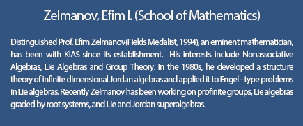 Zelmanov, Efim I.(School of Mathematics)